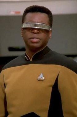 Image of Geordi La Forge from Wikipedia http://upload.wikimedia.org/wikipedia/en/thumb/0/04/GeordiLaForge.jpg/250px-GeordiLaForge.jpg