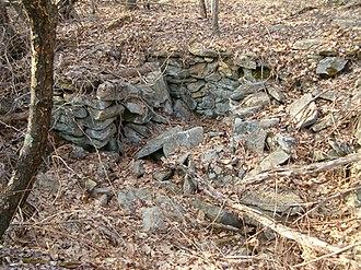 Hanton City, Rhode Island - The remains of a building foundation at Hanton City