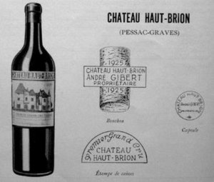 Château Haut-Brion - Château Haut-Brion presentation card dated 1931, demonstrating the designs of the early 20th century, the label, cork, case and capsule markings.