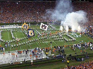 Auburn University Marching Band - The AUMB forming the interlocking AU during pregame