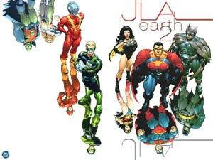 Crime Syndicate of America - The anti-matter Crime Syndicate of America (and counterparts) feature on the cover of the JLA: Earth 2 graphic novel. Art by Frank Quitely.
