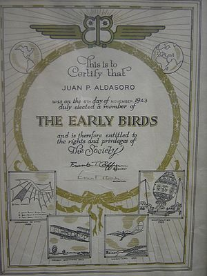 Aldasoro brothers - Certificate that recognizes Juan Pablo Aldasoro as a member of the Early Birds of Aviation, 1943.