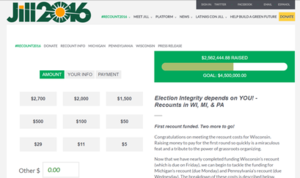 2016 United States presidential election recounts - The donation page of Jill Stein's 2016 presidential election recount efforts on November 24, 2016.