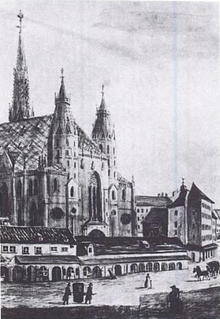 St. Stephen's Cathedral. In the foreground is the Kapellhaus (demolished 1804) where Haydn lived as a chorister. (Source: Wikimedia)