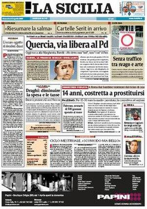La Sicilia - Image: La Sicilia frontpage