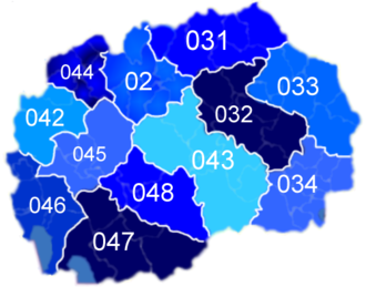 Telephone numbers in the Republic of Macedonia - Image: MKD muni nonn(Area codes)