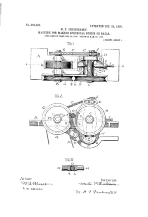 Martin Frederick Christensen - The first page of the patent for Martin F. Christensen's Marble Machine.