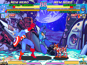 Marvel vs. Capcom: Clash of Super Heroes - Capcom's Mega Man attacks Marvel Comics' Captain America. The remaining number of times each player can summon their guest character is displayed below each team's life gauge.