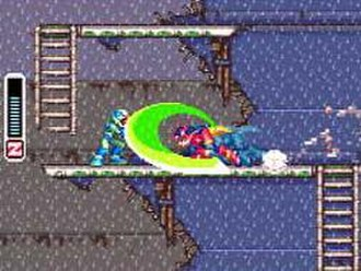 Mega Man Zero (video game) - The player character Zero dashes left and slashes at an enemy. The left-sided HUD displays the player's remaining health.