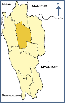 Location of Aizawl district in Mizoram