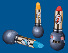 An image of three objects that look like lipsticks, each with a small round base. The lipsticks are marked with the letter 'p', 't', and 'i', respectively.
