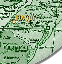 Itaqui's location in the state of Rio Grande do Sul