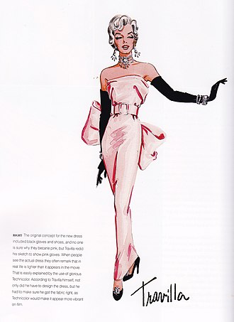 Marilyn Monroe's pink dress - Monroe was originally going to wear a pair of black opera gloves with black Salvatore Ferragamo pumps but Travilla decided to change the colour of the gloves and shoes to match the gown.