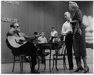 Ozark Jubilee - Red Foley with producer-director Bryan Bisney and Fran Allison during a 1956 rehearsal