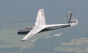 Forward-swept wing - LET L-13 two-seat glider showing forward swept wing