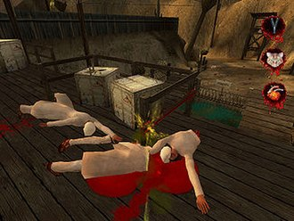 Postal 2 - Urinating on dismembered bodies in a terrorist training camp. This scene caused a great deal of controversy in New Zealand as graphic depictions of urination are deemed obscene in New Zealand, even though the game has no scripted scene of this; this is a purely optional act for the player