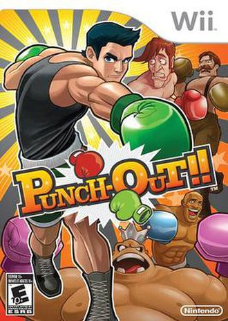 Punch-Out!! (Wii) - North American boxart featuring Little Mac in the foreground, with Glass Joe, Von Kaiser, King Hippo, and Disco Kid in the background.