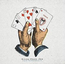 A drawing of hands holding playing cards