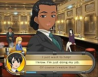 During a dialoge section of the represented title, showing the protagonist faced with three options for talking to the heroine. One must be picked within a short time limit.