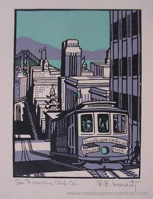 Robert Bruce Inverarity - San Francisco Cable Car, woodblock print,1935, by Robert Bruce Inverarity.