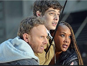 Sharknado 2: The Second One - Ian Ziering, Vivica A. Fox and Dante Palminteri prepare to jump the sharks.