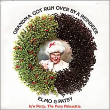 "This is the Front cover for the 7"" single Grandma Got Run Over by a Reindeer by the artist Elmo & Patsy. The cover art copyright is believed to belong to the label, Epic Records, or the graphic artist(s). Front cover of picture sleeve of 1984 7"" single release by Epic Records (#34-04703)"