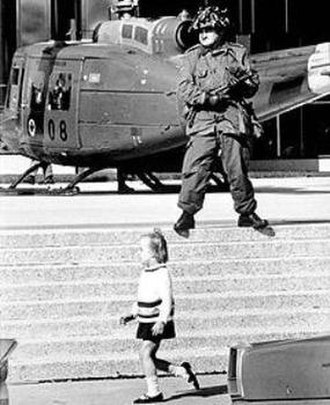 October Crisis - Canadian Forces stand guard in downtown Montreal. (Image: Montreal Gazette October 18, 1970)