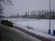 Synthetic pitches covered in snow during January 2004