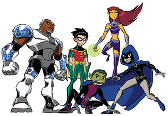 Teen Titans (TV series) - The Teen Titans from left to right: Cyborg, Robin, Beast Boy, Starfire, and Raven