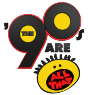 "NickSplat - Original logo as ""The 90's Are All That"", used from July 25, 2011 until February 2013."