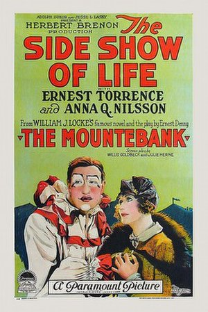 The Side Show of Life - 1924 film poster, likenesses of Ernest Torrence and Anna Q. Nilsson