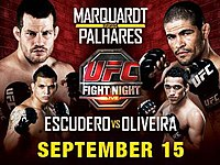 A poster or logo for UFC Fight Night: Marquardt vs. Palhares.