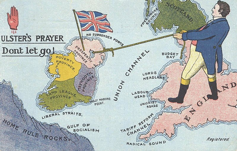 Hazards of separation from Britain. Unionist postcard (1912)