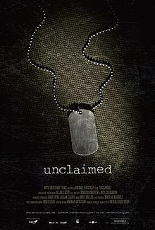 "The poster shows a blank dog tag on the ground. Below the tag is the film title ""Unclaimed""."