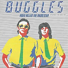 "A cartoon version of Trevor Horn (left) and Geoff Downes (right), with the blue text ""Buggles Video Killed the Radio Star"" on the top"