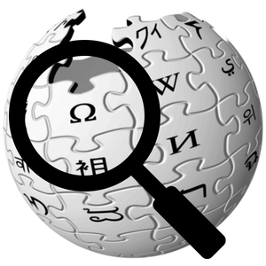 A picture of a Wikipedia logo with a magnifyin...