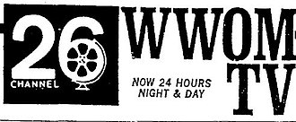WGNO - WWOM-TV's logo from 1969, showing its attempt to broadcast 24 hours a day, from The Times-Picayune.