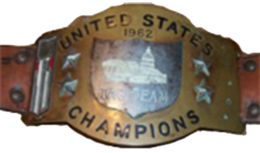 One of the belts that represented the WWWF United States Tag Team Championship