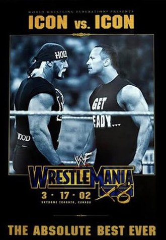WrestleMania X8 - Promotional poster featuring Hollywood Hulk Hogan and The Rock