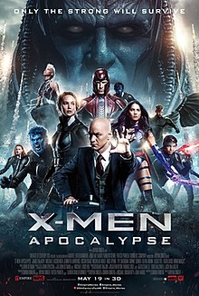 "Official poster shows The X-Men Team with Professor X sitting in his wheelchair, surrounded by friend and foe mutants, with the film's titular enemy Apocalypse behind them with a big close-up over his head and face, with nuclear missiles flying into the air, and the film's title, credits, billing, and release date below them and the film's slogan ""Only The Strong Will Survive"" above."