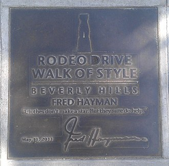 Rodeo Drive Walk of Style - Fred Hayman's plaque on the Walk of Style
