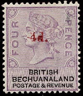 Postage stamps and postal history of British Bechuanaland - British Bechaunaland 1888 overprinted 4d on four pence