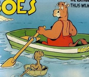 Boes - Album cover of an oblong comic, depicting Boes and Dolly the tortoise.