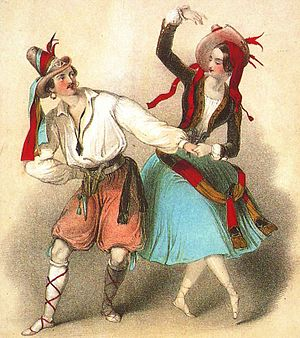 Catarina or La Fille du Bandit - Lucile Grahn as Catarina with Jules Perrot as Diavolino in the celebrated Polka de Catarina from the Perrot/Pugni Catarina, London, 1846