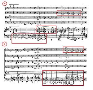 Piano Quintet (Schumann) - Comparison of extracts from Movement 1 (A) and Movement 2 (B) of Schumann's piano quintet