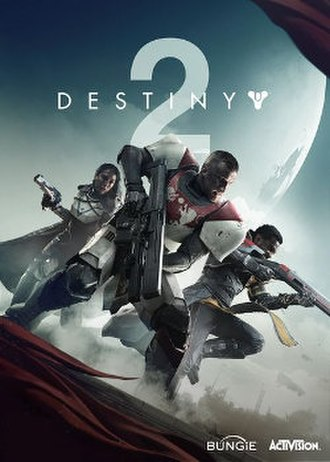 Destiny 2 - Box art featuring the game's three character classes: Hunter (left), Titan (center), and Warlock (right)