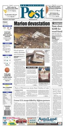 Dominion Post (Morgantown) front page.jpg