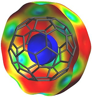 Spartan (software) - A cut-away view of the electrostatic potential map of fullerene (C60), the blue area inside the molecule is an area of positive charge (relative to the superstructure, providing a pictorial explanation for fullerene's ability to encapsulate negatively charged species).