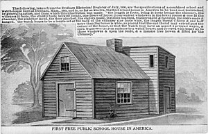 History of Dedham, Massachusetts, 1635–1792 - The first taxpayer-funded public school in the United States was in Dedham.
