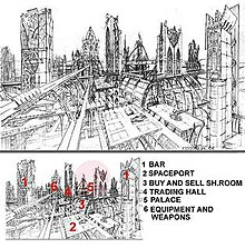 A city of towering buildings is sketched out in black and white; arches are prominent in the structures. The buildings are labeled at the bottom as a bar, a spaceport, a buy and sell showroom, a palace, and an equipment and weapons structure.